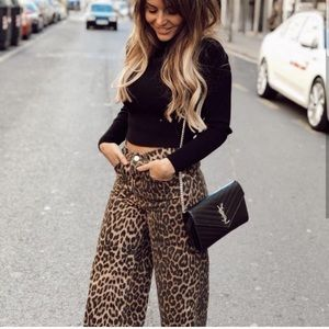 Just In! Zara Animal Print Mid Rise Culotte Jeans